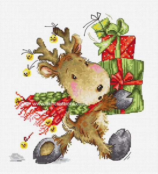Fawn Carrying Presents Cross Stitch Kit